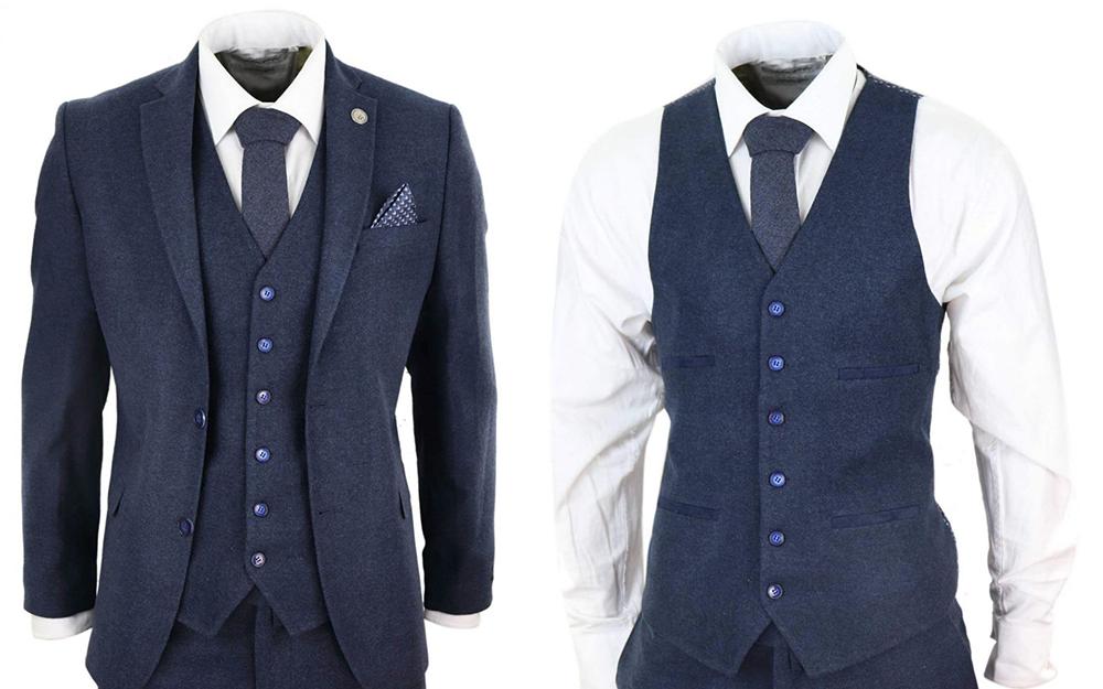 mens navy blue peaky blinders wool suit