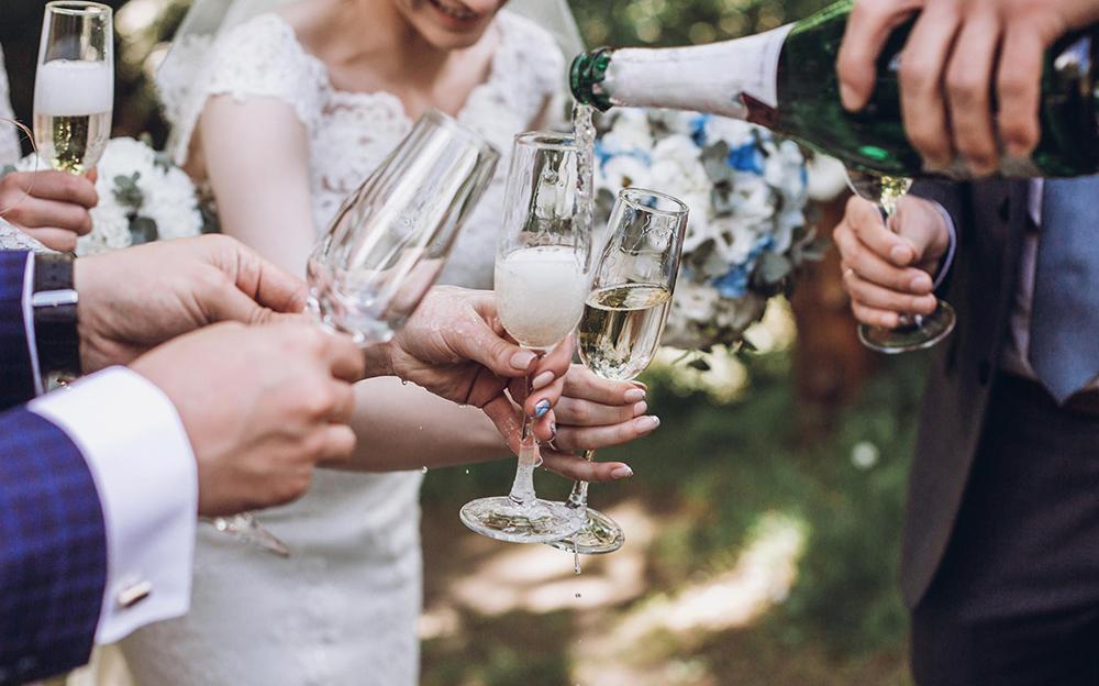 wedding reception champagne